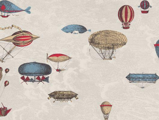 Английские обои с изображением разноцветных летательных аппаратов на фоне бежевых облаков от итальянского дизайнера Форназетти, идеально подойдет в прихожую или гостиную, Fornasetti, Fornasetti Senza Tempo, Английские обои, Детские обои, Обои для гостиной, Обои для прихожей