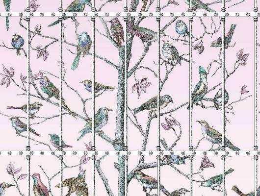 Английское фотопанно Uccelli с изображением дерева с множеством различных птиц ручной работы на свело-розовом фоне, Fornasetti, Fornasetti Senza Tempo, Английские обои