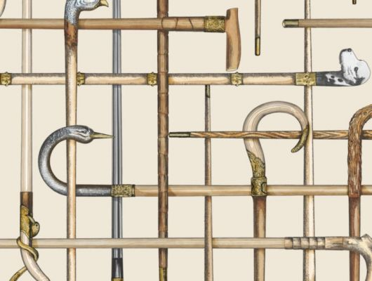 Обои от английской фабрики Cole and Son с изображением классических тростей на бежевом фоне могут стать незаменимым украшением прихожей, Fornasetti Senza Tempo, Английские обои, Новинки, Обои для прихожей