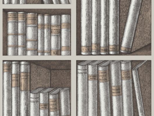 Английские обои для прихожей и коридора с изображением книжного стеллажа в коричнево-бежевых тонах, Fornasetti Senza Tempo, Английские обои, Новинки, Обои для прихожей
