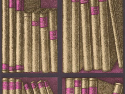 Сочетания пурпурного и золотого, на английских обоях с изображением библиотеки станет классической основой для вашего кабинета, Fornasetti Senza Tempo, Английские обои, Обои для кабинета, Хиты продаж