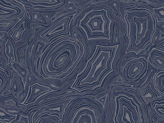 Обои из Британии с имитацией рисунка малахита, серебряного цвета на синем фоне, станет идеальным выбором для прихожей, Fornasetti Senza Tempo, Английские обои, Обои для прихожей