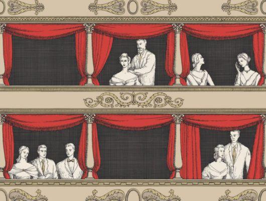 Изысканные обои изображающие людей в театральной ложе, с шторами красного цвета, станут идеальным выбором для декорирования вашего коридора, Fornasetti Senza Tempo, Английские обои, Обои для прихожей, Хиты продаж