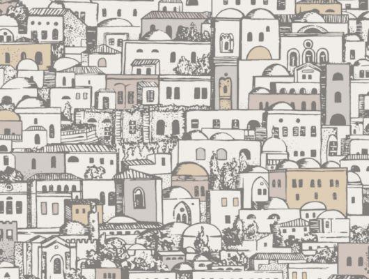 Обои с дизайном из огромного средиземноморского городка, состоящего из белых зданий, отлично впишется в спальню, где приветствуются пастельные и светлые тона, Fornasetti Senza Tempo, Английские обои