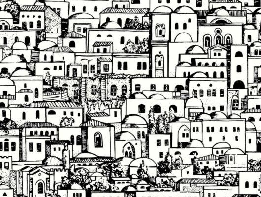 Черно-белый рисунок домов средиземноморского городка сделает спальню выразительной и эклектичной, Fornasetti Senza Tempo, Английские обои, Дизайнерские обои, Новинки, Обои для квартиры