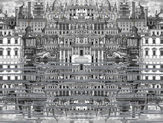 Обои для дорогой столовой с черно-белым изображением роскошного старинного города отражающегося в воде., Fornasetti Senza Tempo, Английские обои, Новинки, Обои для гостиной, Обои для кухни