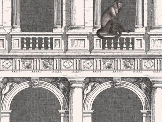 Обои английского производства для гостиной комнаты с изображением обезьян бегающих среди арок и колонн в черно белом цвете, Fornasetti Senza Tempo, Английские обои, Обои для гостиной