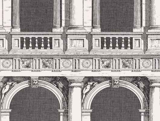 Флизелиновые обои с изображением черно-белых арок и колон выполненных штрихами и тонкими линиями купить онлайн, Fornasetti Senza Tempo, Английские обои