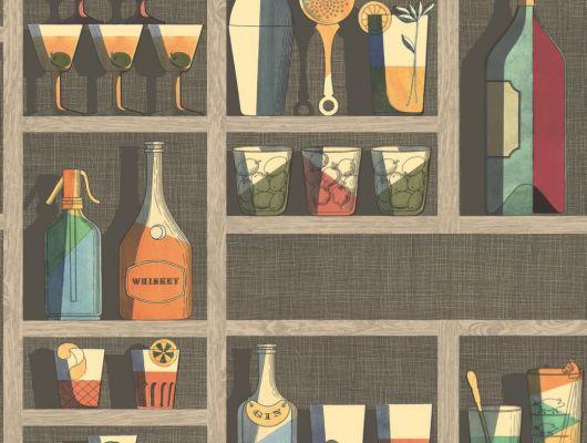 Кухонные обои из Англии с рисунком из разноцветных стаканов бутылок и прочих коктейльных приспособлений, Fornasetti Senza Tempo, Английские обои, Обои для кухни