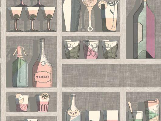 Обои для декорирования барной зоны с изображением коктейлей, бутылок и шейкеров, выполненных в пастельных тонах, Fornasetti Senza Tempo, Английские обои, Новинки, Обои для гостиной, Обои для кухни