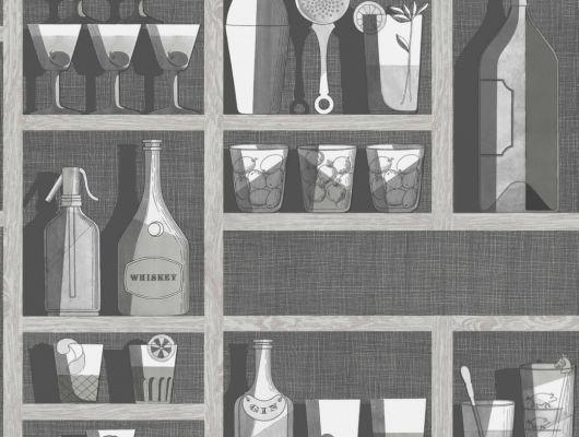 Черно-белые обои для современного дома, украсят стены красивым рисунком из полок с бутылками и коктейлями, Fornasetti Senza Tempo, Английские обои, Обои для стен