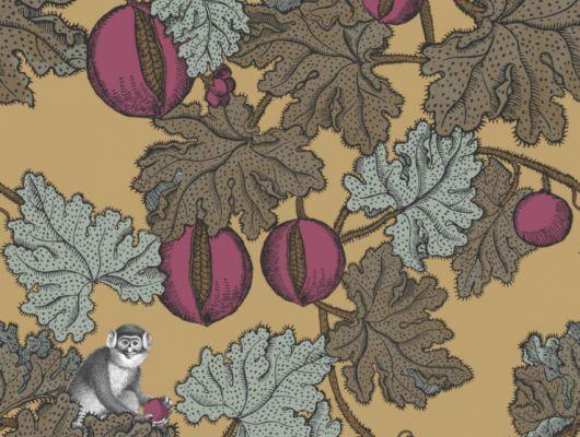 Обои с мартышками сидящими на ветвях гранатового дерева на золотом переливающемся фоне, станет прекрасной основой для стильной современной гостиной, Fornasetti Senza Tempo, Английские обои, Обои для гостиной