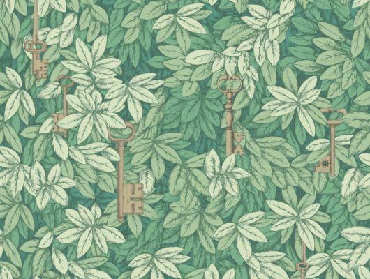 Золотые ключи висящие среди зеленой листвы, нарисованной на английских обоях, идеально впишутся в интерьер кабинета, Fornasetti Senza Tempo, Английские обои, Дизайнерские обои, Обои для кабинета, Хиты продаж
