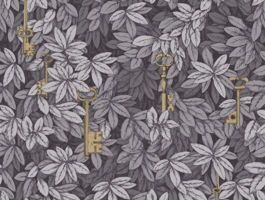 Дизайнерские обои от Форназетти с изысканным рисунком из позолоченных ключей, в пепельной листве., Fornasetti Senza Tempo, Английские обои, Дизайнерские обои