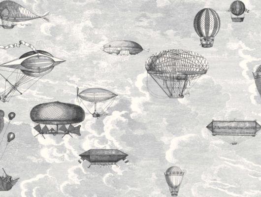 Черно-белые обои с изысканным дизайном из воздушных шаров и летательных аппаратов на фоне облачного неба, для украшения ваших стен, Fornasetti, Fornasetti Senza Tempo, Английские обои, Детские обои, Обои для гостиной, Обои для прихожей, Обои для стен