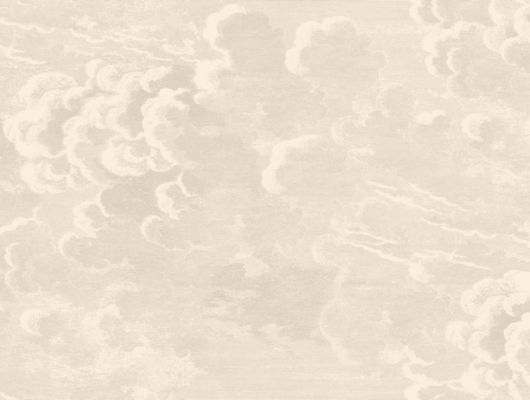 Обои доя декорирования прихожей с красивым штрихованным рисунком кучевых облаков выполненного на бежевом, нейтральном фоне, Fornasetti, Fornasetti Senza Tempo, Английские обои, Обои для гостиной, Обои для прихожей