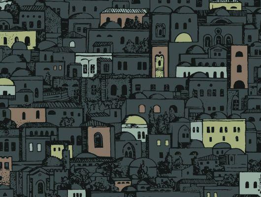 Английские обои с видом на ночной средиземноморский городок, станет прекрасным украшением для кухни, Fornasetti, Fornasetti Senza Tempo, Английские обои, Дизайнерские обои, Обои для кухни