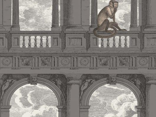 Обои для библиотеки в кабинете с изображением бежевых мартышек проказничающих среди заброшенных темных арок и колонн, Fornasetti, Fornasetti Senza Tempo, Английские обои, Обои для кабинета