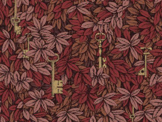 Осенняя интерпретация знаменитых обоев с ключами на фоне густой листвы, теперь может превратить вашу гостиную в фешенебельную красную комнату, Fornasetti, Fornasetti Senza Tempo, Английские обои, Обои для гостиной