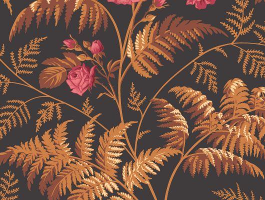 """Обои Cole & Son - """"Rose"""" арт. 115/10029. Классика английских паттернов с изображением прекрасной розы.Королева и украшение любого сада расцветает в окружении папоротника на темном фоне, цвета жженой сиены, умбры и ягоды вишни. Обои Cole & Son, Стоимость, заказать доставку., Botanical Botanica, Обои для гостиной"""