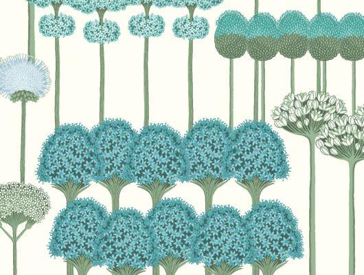 """Обои Cole & Son - """"Allium"""" арт. 115/12035 . Цветочный паттерн, создает геометричный рисунок с изображением луковичных растений в цвете чирка и нефритовом на белом фоне. Салон обоев, магазин обоев, купить обои Москва., Botanical Botanica, Обои для гостиной, Обои для кухни, Обои для спальни"""