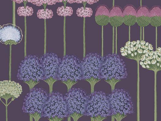"""Обои Cole & Son - """"Allium"""" арт. 115/12036. Цветочный паттерн, создает геометричный рисунок с изображением луковичных растений в оттенках шелковицы и вереска на фиолетовом фоне. Обои в Москве, адреса магазинов, каталог обоев, Botanical Botanica, Обои для гостиной, Обои для кухни, Обои для спальни"""