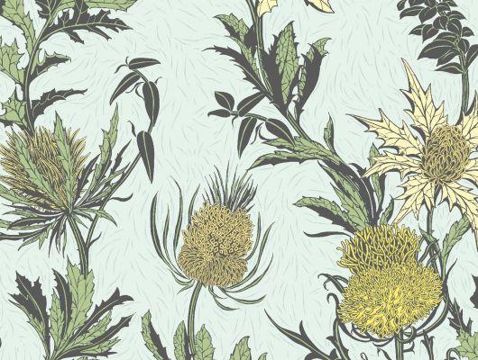 """Обои Cole & Son - """"Thistle"""" арт. 115/14042. Неординарные цветы чертополоха графично выполнены в лимонных и оливковых тонах на на фоне цвета скорлупы утиного яйца. Смелый дизайн напечатан методом шелкографии и имеет благородный матовый финиш. Обои для квартиры, обои на стену, дизайнерские обои., Botanical Botanica, Обои для гостиной"""