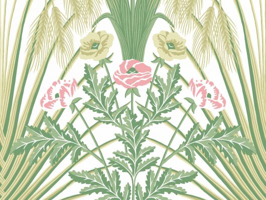 """Обои Cole & Son - """"Bluebell"""" арт. 115/3008 - это Затейливый орнамент из полевых цветов, ростков пшеницы, маков, гиацинтоидесов и колокольчиков цвета весенней зелени и лазурнонебесного на кремовом фоне. Обои Cole & Son, Стоимость, заказать доставку., Botanical Botanica, Обои для гостиной, Обои для кухни"""