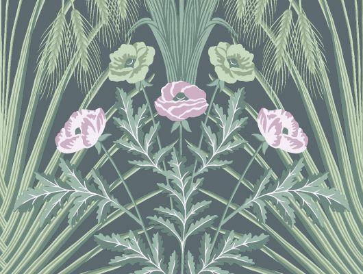 """Обои Cole & Son - """"Bluebell"""" арт. 115/3009 - это затейливый орнамент из полевых цветов, ростков пшеницы, маков, гиацинтоидесов и колокольчиков цвета мяты и сирени с оттенками шалфея на угольном фоне. Английские обои, Обои Cole & Son, Каталог обоев, Botanical Botanica, Обои для гостиной, Обои для спальни"""