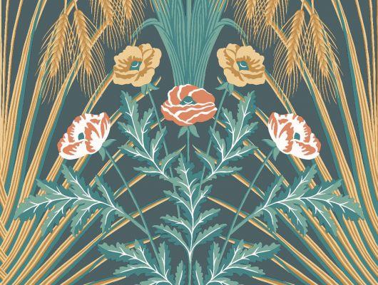 """Обои Cole & Son - """"Bluebell"""" арт. 115/3010 - это затейливый орнамент из полевых цветов, ростков пшеницы, маков, гиацинтоидесов и колокольчиков цвета чирка, золота и кораллового на петролевом фоне. Обои для квартиры, обои на стену, дизайнерские обои., Botanical Botanica, Обои для гостиной, Обои для спальни"""