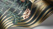"""Обои Cole & Son - """"Bluebell"""" арт. 115/3010 - это затейливый орнамент из полевых цветов, ростков пшеницы, маков, гиацинтоидесов и колокольчиков цвета чирка, золота и кораллового на петролевом фоне. Обои для квартиры, обои на стену, дизайнерские обои."""