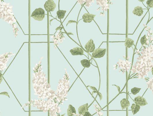 """Обои Cole & Son - """"Wisteria"""" арт. 115/5014 в интерьере. Классичекий мотив трельяжной решетки, так полюбившийся многим из нас, дополнен соцветиями глицинии и будет украшать Ваши стены в течении всего года! Обои для спальни, выбрать в каталоге, заказать доставку, Botanical Botanica, Обои для гостиной, Обои для кухни, Обои для спальни"""