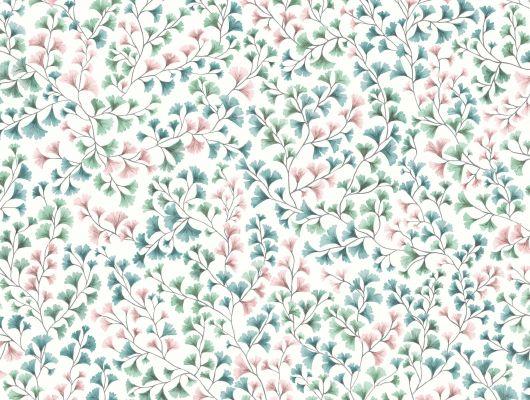 """Обои Cole & Son - """"Maidenhair"""" арт. 115/6017. На обоях изображены ветви очень стойкого дерева Гинко в акварельной технике петролевого, розового и мятных цветов на белом фоне. Обои в гостиную, стильные обои, флизелиновые обои, Botanical Botanica, Обои для гостиной, Обои для кухни"""