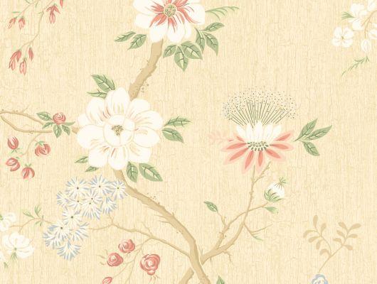 """Обои Cole & Son - """"Camellia"""" арт. 115/8023. Поверх принта из архивной коллекции Cole & Son с эффектом кракелюра, изображено дерево камелии японской в  коралловом и серо-зелёном цвете на лютиковом фоне., Botanical Botanica, Обои для гостиной, Обои для кухни, Обои для спальни"""