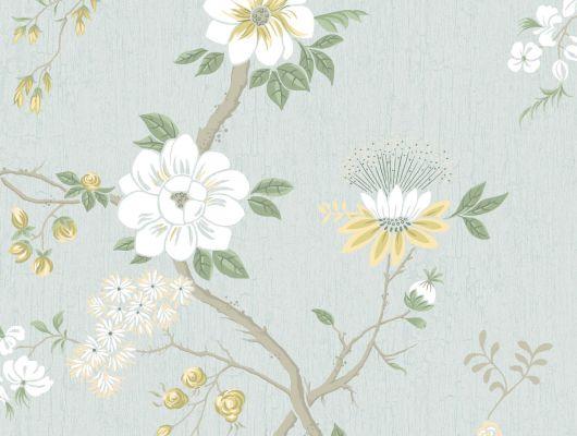 """Обои Cole & Son - """"Camellia"""" арт. 115/8025. Поверх принта из архивной коллекции Cole & Son с эффектом кракелюра, изображено дерево камелии японской в лимонном и серо-зелёном на фоне цвета голубой гостиной. Обои Cole & Son, Стоимость, заказать доставку., Botanical Botanica, Обои для гостиной, Обои для кухни, Обои для спальни"""