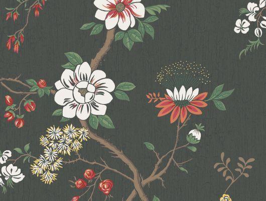 """Обои Cole & Son - """"Camellia"""" арт. 115/8026.  Поверх принта из архивной коллекции Cole & Son с эффектом кракелюра, изображено дерево камелии японской в белом и красном цвете на угольном фоне. Обои в Москве, адреса магазинов, каталог обоев, Botanical Botanica, Обои для гостиной, Обои для спальни"""