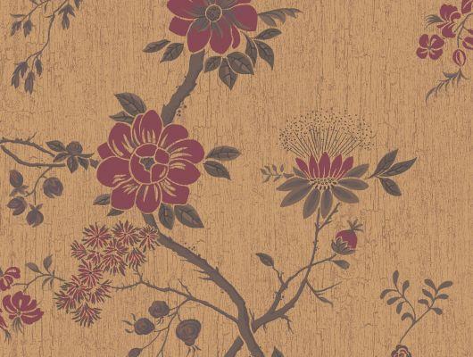 """Обои Cole & Son - """"Camellia"""" арт. 115/8027. Поверх принта из архивной коллекции Cole & Son с эффектом кракелюра, изображено дерево камелии японской в багровом цвете и на фоне золотого металлика. Английские обои, Обои Cole & Son, Каталог обоев, Botanical Botanica, Обои для гостиной, Обои для спальни"""