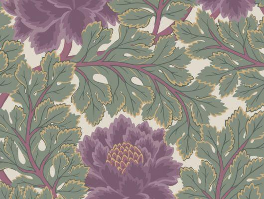 Обои с сказочным цветочным рисунком, меж зеленых листьеш шалфеевого оттенка на пергаментом фоне для гостиной комнаты заказать онлайн, The Pearwood Collection, Английские обои, Обои для гостиной, Хиты продаж