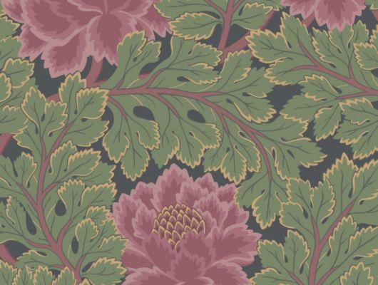 Яркие цвета английских обоев от Cole and Son радуют глаз, насыщенно розовый и лесной зеленый, на темном угольном фоне, салон обоев, продажа обоев, The Pearwood Collection, Английские обои, Обои с цветами