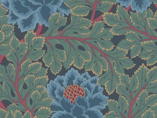 Флизелиновые обои с пышными, синими цветами на ночном синем фоне, The Pearwood Collection, Английские обои, Флизелиновые обои
