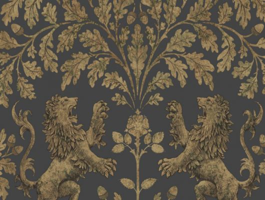 Обои с золотыми львами под золотым дубом на темном фоне для украшения вашей гостиной комнаты, The Pearwood Collection, Английские обои, Новинки, Обои для гостиной, Обои с рисунком
