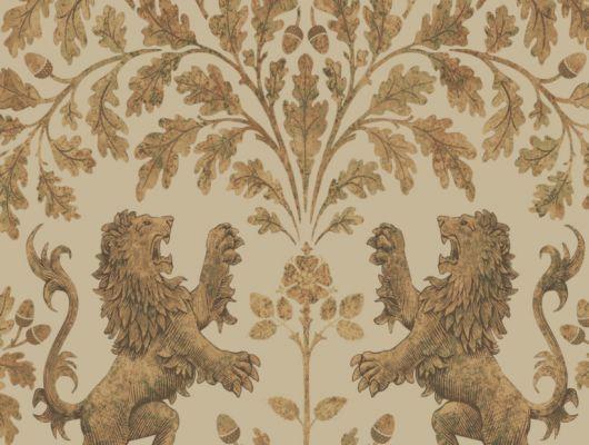 Обои из Англии для стен с изображением золотых львов и дуба на бежевом, овсяном фоне, The Pearwood Collection, Английские обои, Обои для стен, Хиты продаж