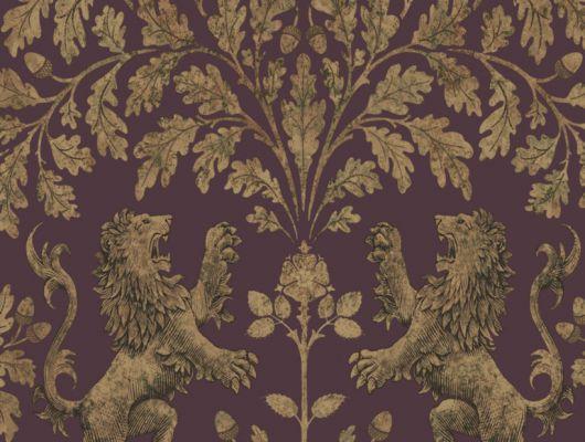 Классический монархический рисунок из рычащих золотых львов и раскидистого дуба, на пунцовом фоне,где посмотреть, The Pearwood Collection, Английские обои, Обои для комнаты, Обои с рисунком