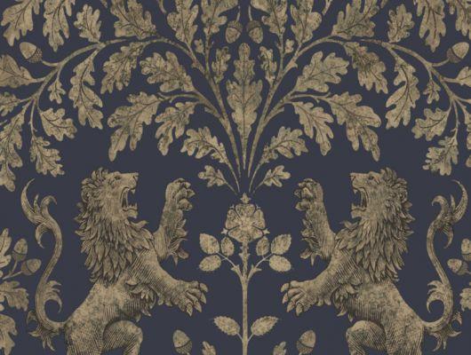 Английские обои для детских с золотыми львами, сражающимися под огромным дубом на темно-синем фоне, The Pearwood Collection, Английские обои, Детские обои, Новинки