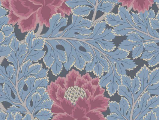 Обои Aurora Cole and Son для прихожей с цветочным рисунком в вишневом и лазурно-синем фоне, выбор обоев в Москве, купить обои, обои из Англии, The Pearwood Collection, Английские обои, Новинки, Обои для прихожей, Обои с цветами, Хиты продаж