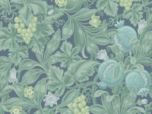 Обои в комнату с экзотическим рисунком в виде зеленых фруктов, среди зеленой листвы, созданный профессиональными дизайнерами, The Pearwood Collection, Английские обои, Дизайнерские обои, Обои для комнаты