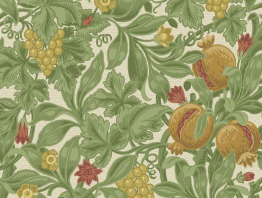 Яркие обои с тропическим рисунком из разноцветных фруктов с зеленой листвой на светлом фоне, The Pearwood Collection, Английские обои, Обои с цветами, Флизелиновые обои