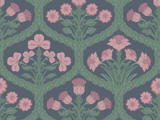 Обои для комнаты на флизелиновой основе с цветочным узором из розовых бутонов, в зелени на темном фоне, The Pearwood Collection, Английские обои, Обои для комнаты, Флизелиновые обои