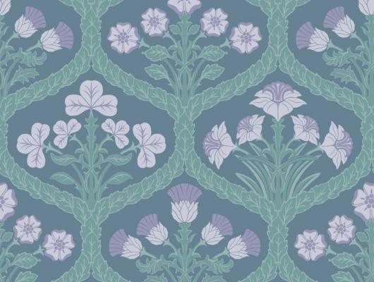 Цветочные обои для спальни выполненный дизайнерами в сумрачных сине-зеленых оттенках, The Pearwood Collection, Английские обои, Дизайнерские обои, Обои для спальни, Хиты продаж