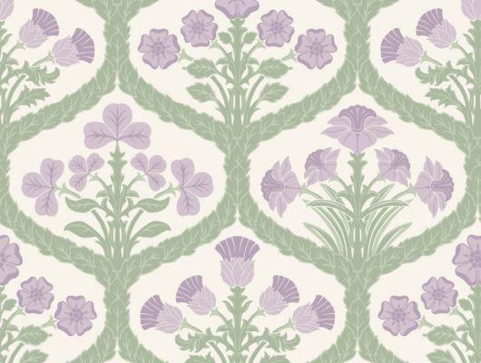 Обои с красивым цветочным узором из 5 повторяющихся розовых цветов, в обрамлении зеленых листьев на светлом пергаментом фоне, The Pearwood Collection, Английские обои, Новинки, Обои для квартиры